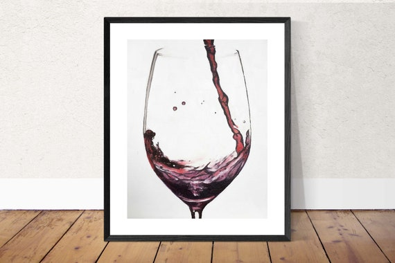 Wine Art Wine Painting Wine Art PRINT Red Wine - Art Print  - from original painting by J Coates