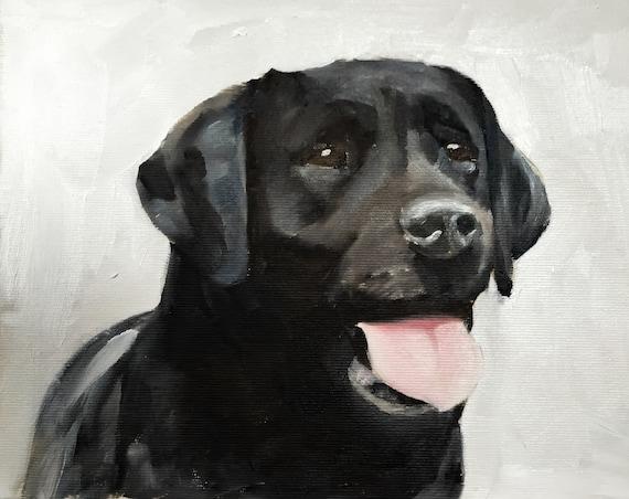 Labrador Painting Black Labrador Dog Art PRINT Black Labrador Dog - Art Print  - from original painting by J Coates