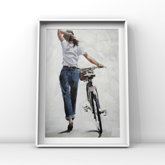 Woman Bicycle Painting Art PRINT Woman Walking Bicycle - Canvas Wall Art Print  - gift for woman cyclist bicycle lover gift cycling gift