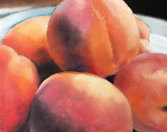 Peaches Painting Peach Still Life Art PRINT - Peaches Oil Painting Kitchen Art from original by James Coates Original Oil Painting or Print