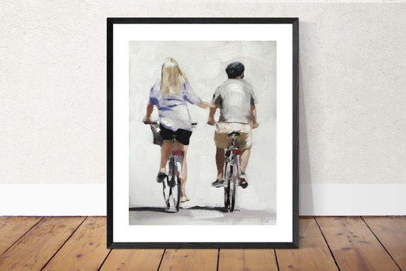 Couple Cycling Painting Couple on Bicycles Painting Art PRINT Couple on Bicycles  - Art Print - from original painting by J Coates