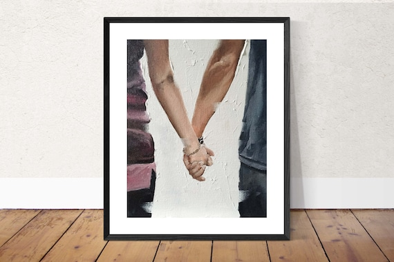 Couple Art, Lovers PRINT Couple Holding Hands - Art Print - from original painting by J Coates