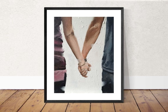 Couple Art, Lovers PRINT Couple Holding Hands - Art Print - from original painting by J Coates Original Oil Painting or Print