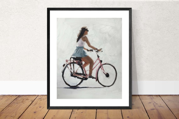 Cycling Woman Painting Art Woman Bike Art PRINT Woman on Bicycle - Art Print -  - from original painting by J Coates