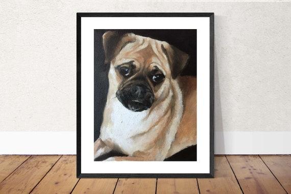 Pug Dog Painting Pug Dog Art Pug Dog PRINT Pug Dog - Art Print  - from original painting by J Coates Original Oil Painting or Print