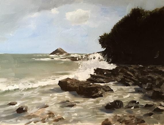 Beach Rocks Painting Beach Art Beach Rocks PRINT Beach Scene Cornwall - Art Print  - from original painting by J Coates