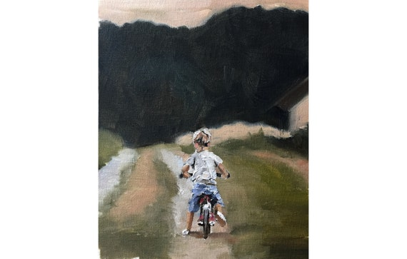 Bicycle Boy Painting Boy on Bicycle Art PRINT Art Print -from original painting by J Coates Original Oil Painting or Print