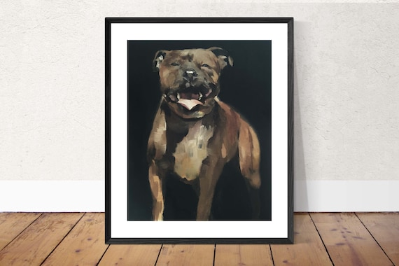 Staffordshire Dog Painting Art PRINT Staffordshire Bull Terrier Dog - Art Print - from original painting by J Coates