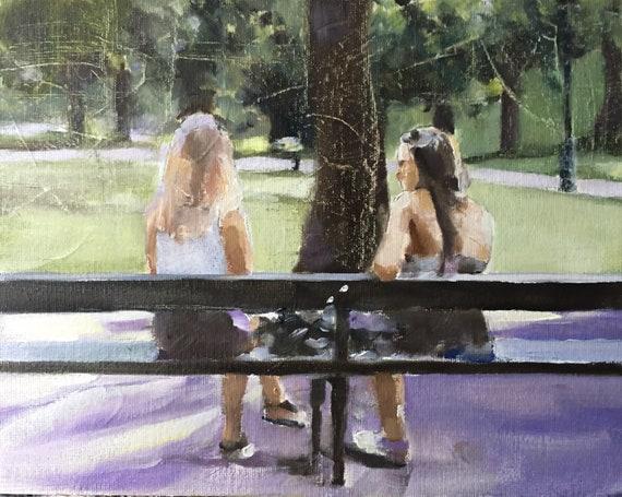 Women on Bench Painting Women Art PRINT Woman on Bench - Art Print - from original painting by J Coates