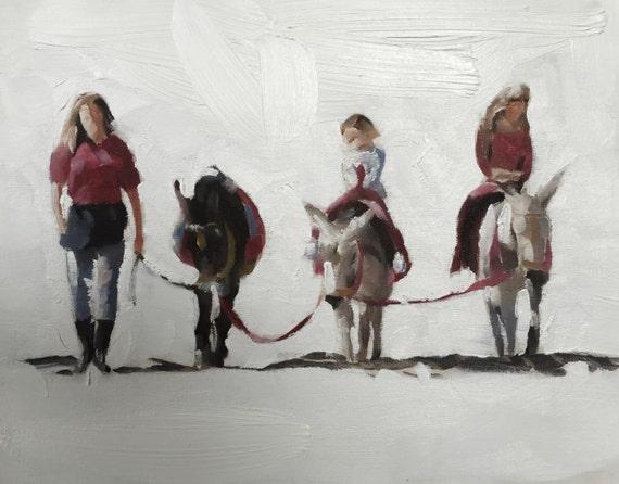 Donkey Pony Painting Art PRINT Donkey Ride on Beach - Art Print - from original painting by J Coates