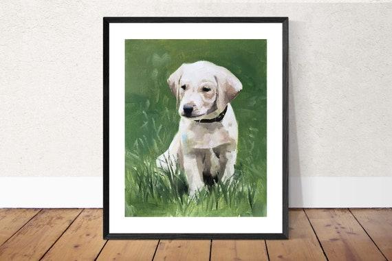 Labrador Puppy Dog Painting Labrador Art Labrador Dog PRINT - Art Print - from original painting by J Coates