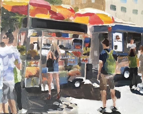 New York poster, Hot Dog Stand, New York City, wall art, New York print, New York art, home decor, Central Park Art, travel decor