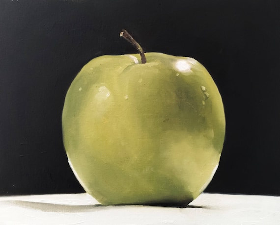 Apple Art Print, Fruit Art, Food Lover Gift, Green Apple Painting, Apple Painting Apple Still Life - Apple Oil Painting, Kitchen Art