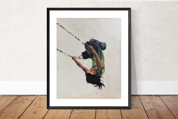Girl on Swing Painting Girl Art PRINT Girl on Swing - Art Print  - from original painting by J Coates