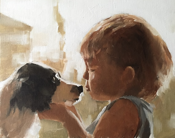 Boy Dog Painting Boy Art PRINT Pet Painting - A Boy and His Dog  - Art Print  - from original painting by J Coates