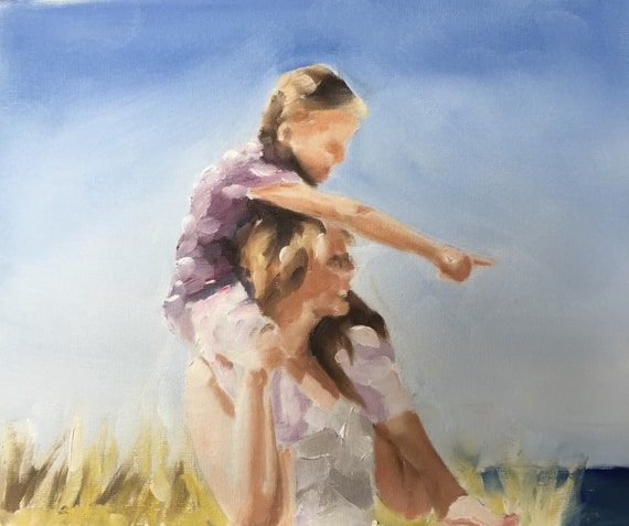 Father Daughter Painting Father Daughter Art PRINT Shoulder Ride - Art Print - from original painting by J Coates