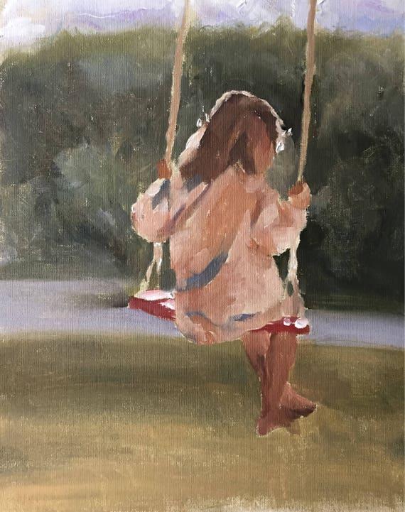 Girl painting Girl Art PRINT Girl on Swing - Art Print - from original painting by J Coates