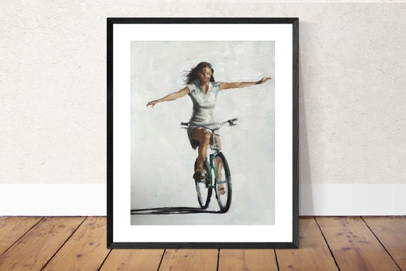 Woman Cycling Painting PRINT Bicycle Art Cycling Print Hands Free - Woman Cycling - Art Print - from original painting by J Coates