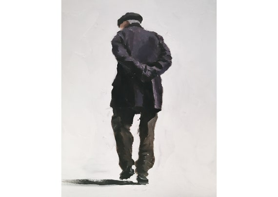 Old Man Painting Old Man Art Old Man PRINT Old Man Walking - Art Print  - from original painting by J Coates