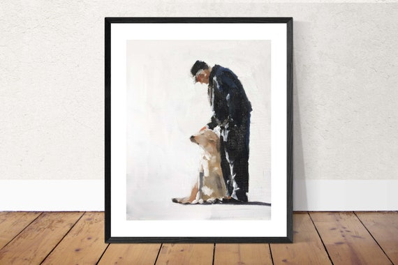 Man and Doig Painting man Dog Art PRINT Man with Dog - Art Print - from original painting by J Coates