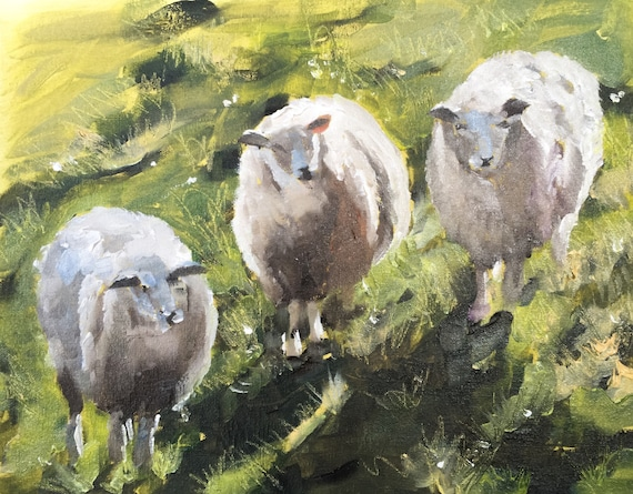 Sheep Painting Sheep Art PRINT Sheep - Art Print - 8 x 10 inches - from original painting by J Coates Original Oil Painting or Print