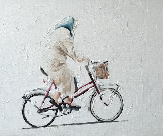 Old Woman Bicycle Painting Old Woman Art Woman Cycling Art PRINT Old Woman on Bicycle - Art Print  - from original painting by J Coates