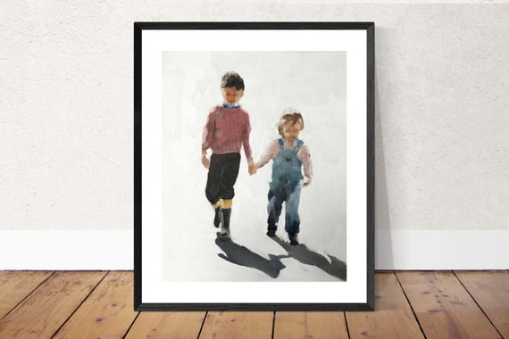 Siblings Painting PRINT Brother and Sister - Art Print  - from original painting by J Coates