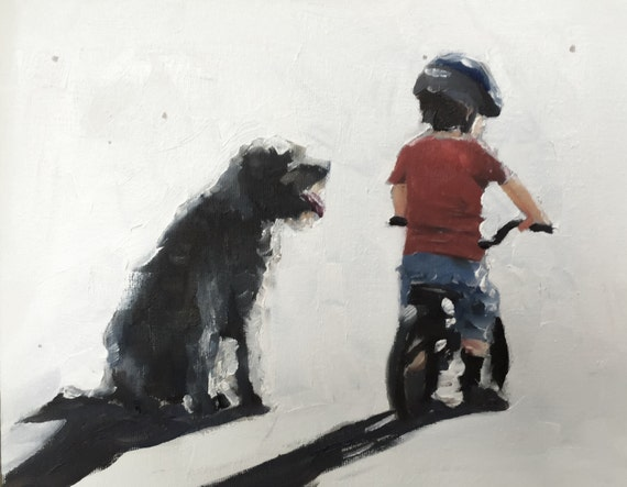 Boy with Dog Painting Boy and Dog Picture Wall Art PRINT Art Print Children dogs pets - from original painting by J Coates