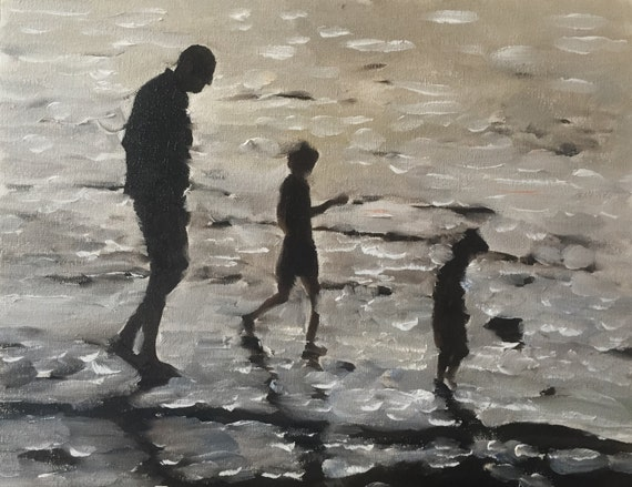 Beach Family Painting Beach Family Art Beach Family PRINT Beach Scene - Art Print  - from original painting by J Coates