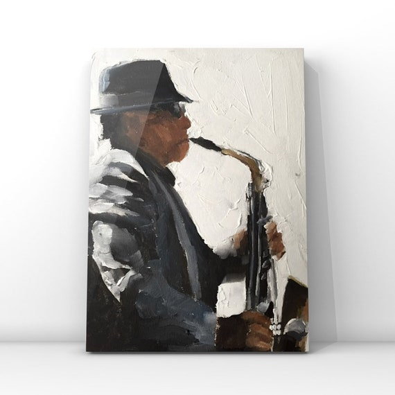 Busker Painting Saxophone Player Art PRINT music painting - Art Print - from original painting by J Coates Original Oil Painting or Print