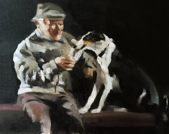 Man Dog picture Man Dog Art PRINT Pub art Sharing a Pint - Art Print - 8 x 10 inches - from original painting by J Coates