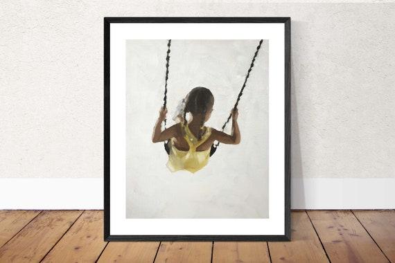 Girl on Swing Painting Girl Art PRINT Girl on Swing - Art Print  - from original painting by J Coates Original Oil Painting or Print