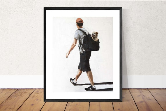 Dog Walking Painting Dog Walk Art PRINT Man Walking Dog in Bag- Dog Art Print, dog lover gift, dogs wall art, dog lover art, dog decor