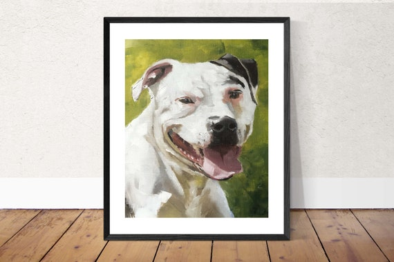 Staffy Dog Picture Staffordshire Bull Terrier Dog Art PRINT, Dog Lovers Art, Staffordshire Bull Terrier -  from original oil painting