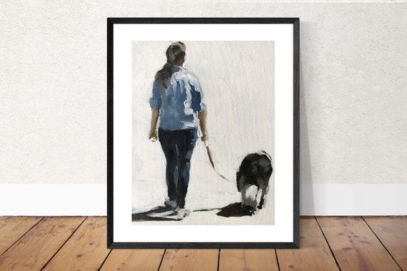 Woman Walking Dog Painting Woman Walking Dog Art PRINT  - Art Print  - from original painting by J Coates