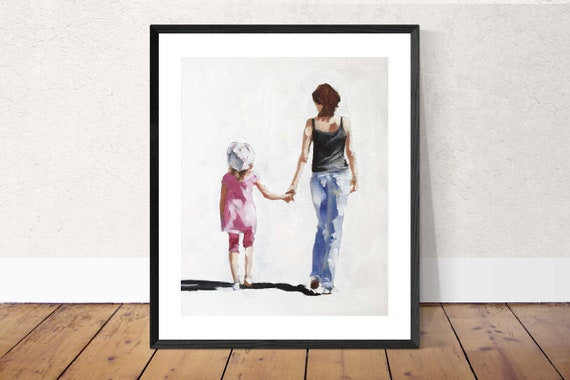 Mother and Daughter Painting Mum Daughter Art PRINT Mother and Daughter - from original painting by J Coates