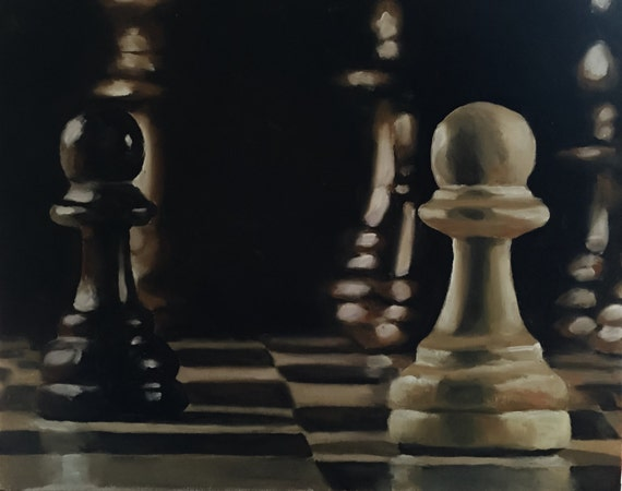 Chess Painting Chess Lovers Gift Art PRINT Chess  - Art Print  - from original painting by J Coates Original Oil Painting or Print