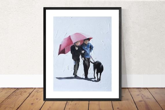 Children painting PRINT Art Children Walking Dog In Rain - Art Print - from original painting by J Coates