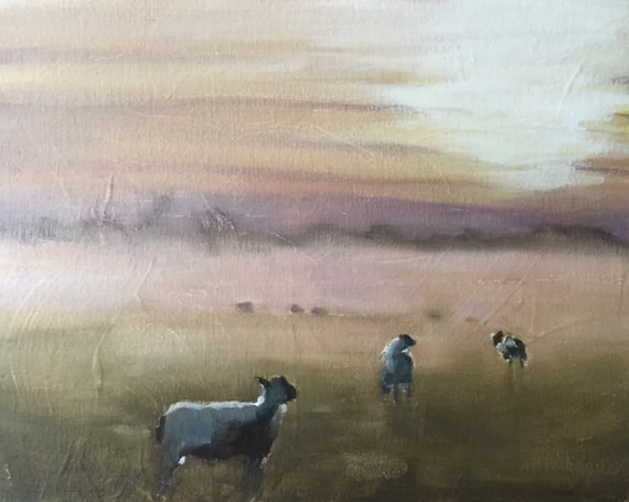 Sheep Painting Sheep Picture art PRINT Lamb Sheep - Art Print - from original painting by J Coates