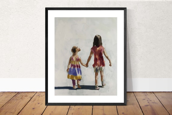 Sisters Painting Girls Best Friends Sister Art PRINT Sisters - Art Print - from original painting by J Coates