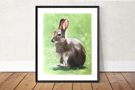 Rabbit Painting Bunny Rabbit Art PRINT Pet Painting - Rabbit  Picture- Art Print  - from original painting by J Coates