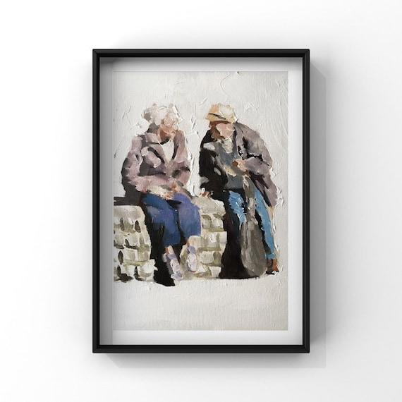Old Couple Painting Couple Art PRINT Elderly Couple, Old Couple  - Art Print - from original painting by J Coates