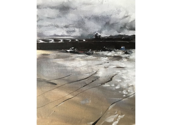 Cornwall Art Beach Painting PRINT playing on the beach - Art Print - from original painting by J Coates