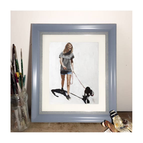 Walking Dog Painting Dog Walking Art PRINT - Dog Lover Art Print - from original painting by J Coates Original Oil Painting or Print