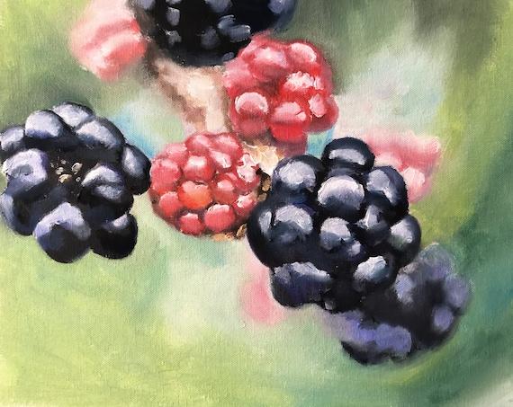 Blackberries painting Food Art fruit PRINT Summer Fruits - Blackberries Art Print - from original painting by J Coates