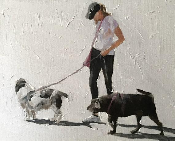 Dog Lover Painting Dog Walker Art Dog PRINT Dog Walker - Print - Woman Walking Dog Art, Gift for her, Gift For Dog Lover, Dog Walker Gift