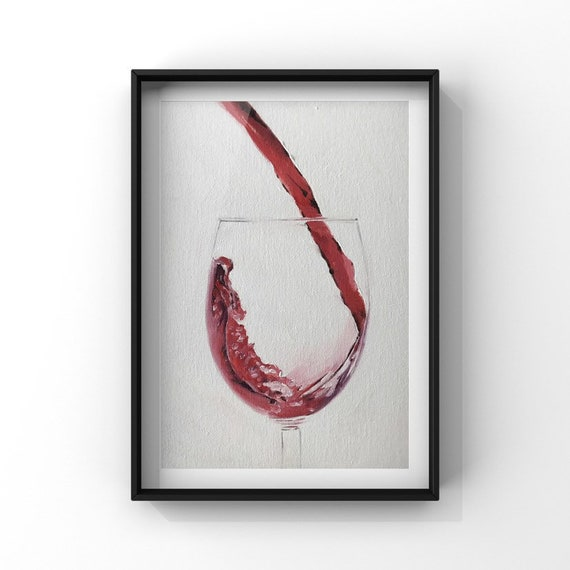 Red Wine Painting, Wine Art Wine PRINT - Art Print  - from original painting by J Coates Original Oil Painting or Print