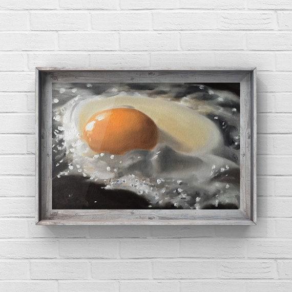 Egg Painting Egg Art Egg PRINT Fried Egg Art Print - from original painting by J Coates Original Oil Painting or Print