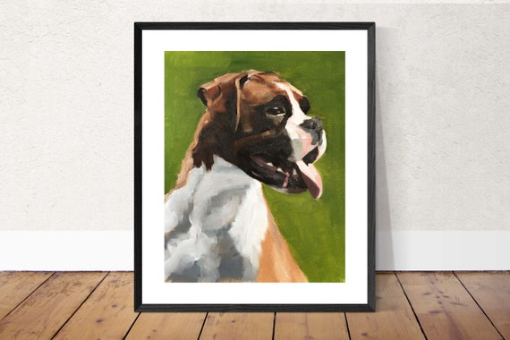 Boxer Dog Art PRINT Boxer Dog painting dog wall art boxer dog art dog painting boxer dog wall decor gift Original Oil Painting or Print
