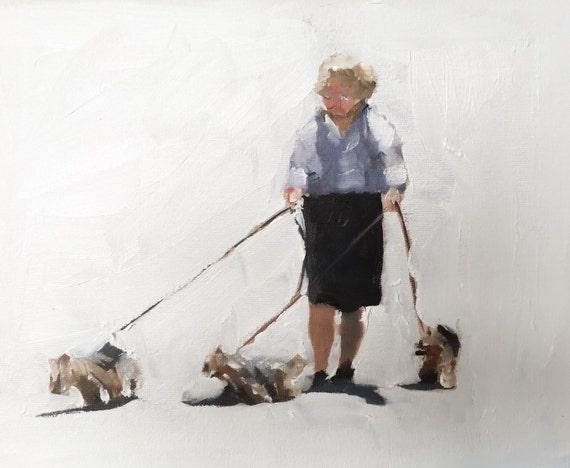 Woman Walking Dog Painting Dog Walking Art PRINT  - Art Print  - from original painting by J Coates Original Oil Painting or Print